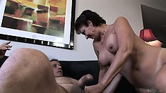 Horny mature bitch fucked hard in her hairy beaver in a hard fuck scene