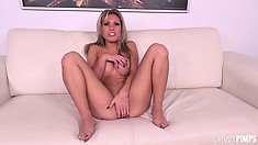 Blonde cutie Aubrey Addams strips and poses, then fingers her clit