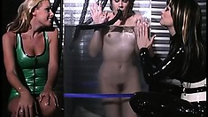 Naughty brunette slave is in the cold water torture chamber thanks to her mistresses