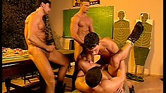 Six horny army guys take turns fucking each other's tight asses