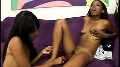 Slender black babes hook up on the couch and embark on a wild lesbian adventure