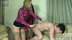 Horny young guy Maurice bends over and Irene fucks his ass with a strap-on dildo