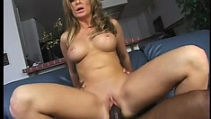 She cums all over his big black cock and he shoots his load on her face