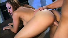 Amateur brunette blows him and rides his prick and he cums in a glass