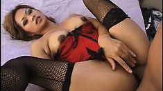 Hot Asian babe Jazlyn blows his wanker and takes it deep in her ass