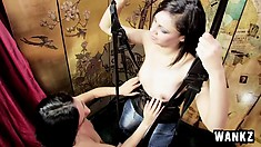 Lesbian Alyssa and Mayla use their sex swing and their toys to get off
