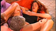 Striking Brazilian girl has a horny old guy banging her fiery anal hole