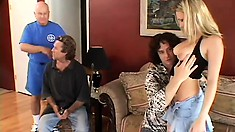 Husband watches his wife choke down a dick and get her ass fucked
