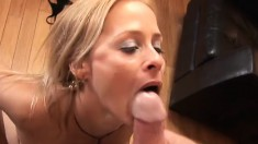 Lusty MILF seduces a well hung dude into filling her wet cunt