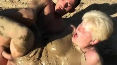 Two dirty cougars getting fucked rough by a pair of hung dudes outside