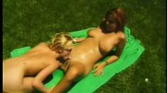 Ginger-head courtesan and her lovely blonde partner have nice sex