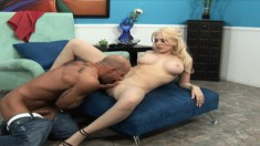 Voluptuous blonde bends over to get her porcelain butt slammed hard