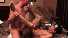 Horny college stud rides his sexy roommate's stiff prick on the bed